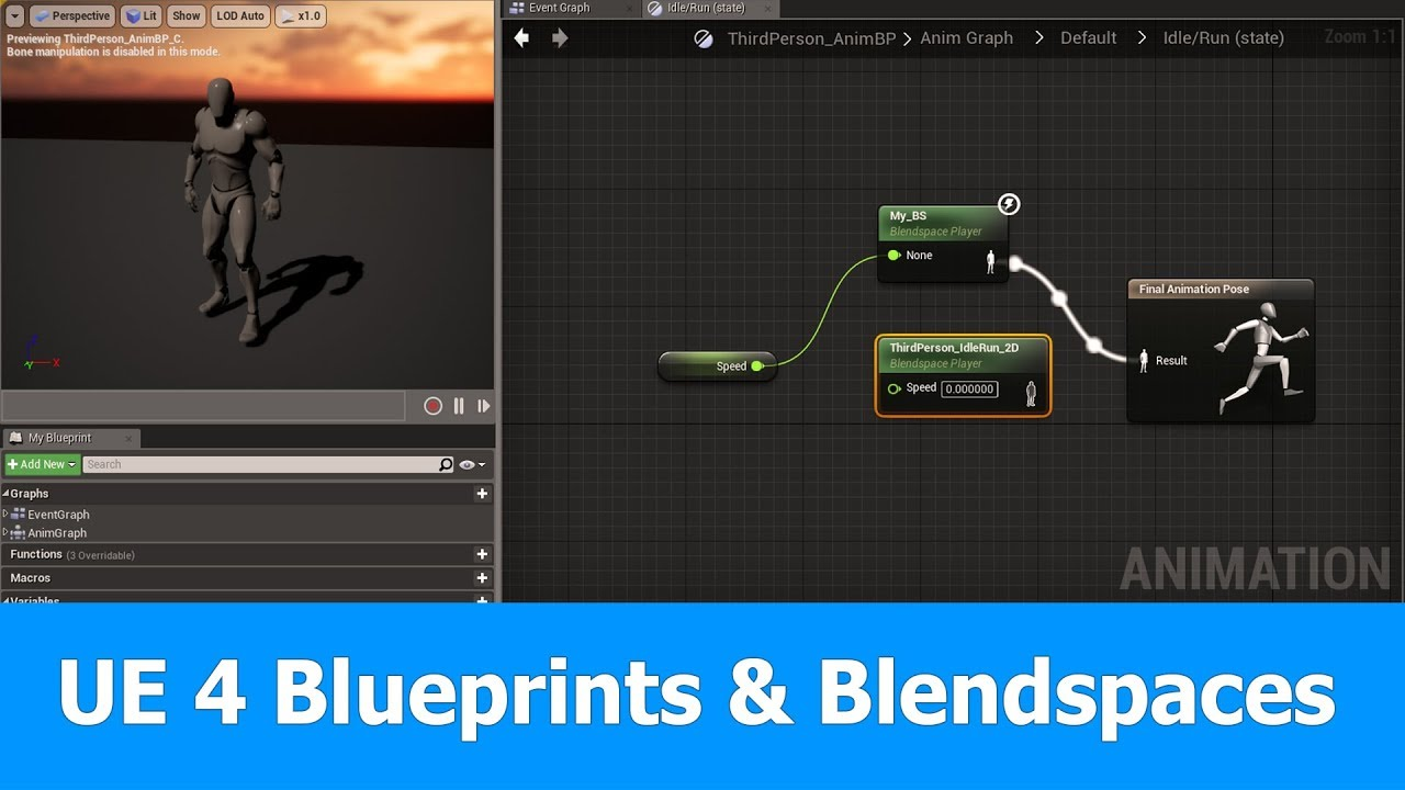 Unreal engine animation tutorial blueprints blendspaces youtube unreal engine animation tutorial blueprints blendspaces malvernweather Gallery