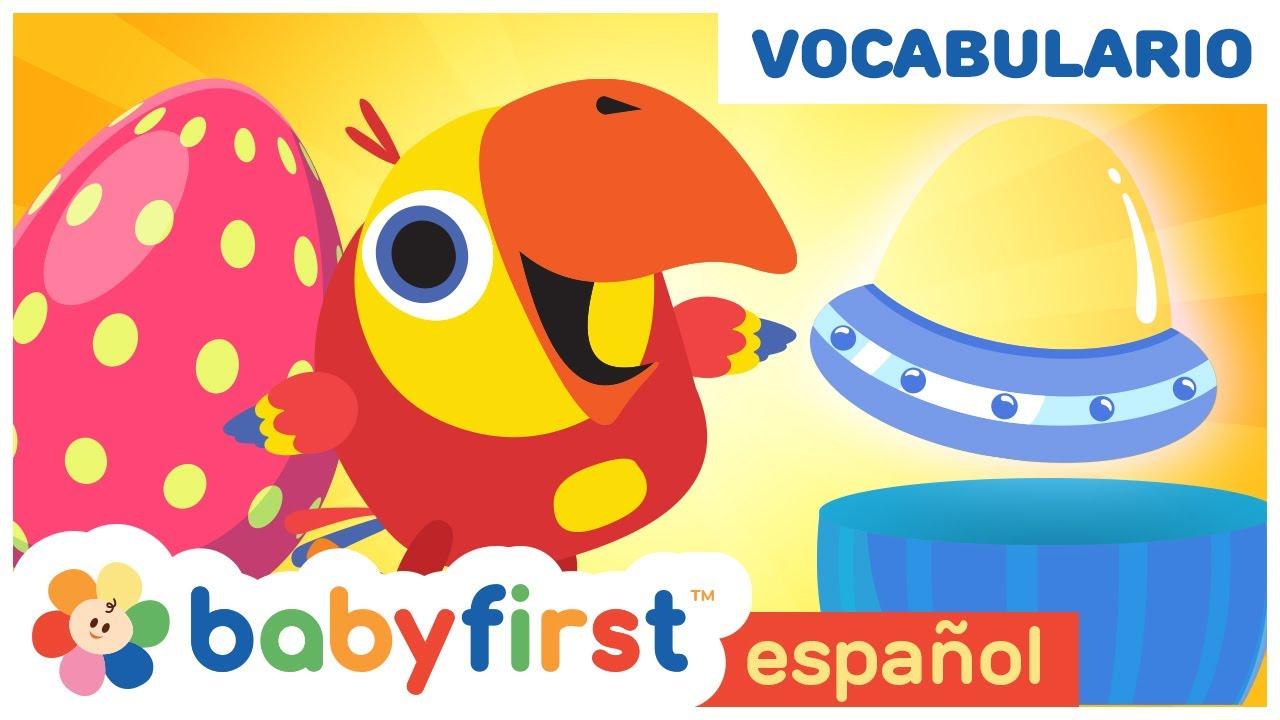 Huevos sorpresa con Larry el loro en español   Nuevas palabras para niños   Baby First TV Español