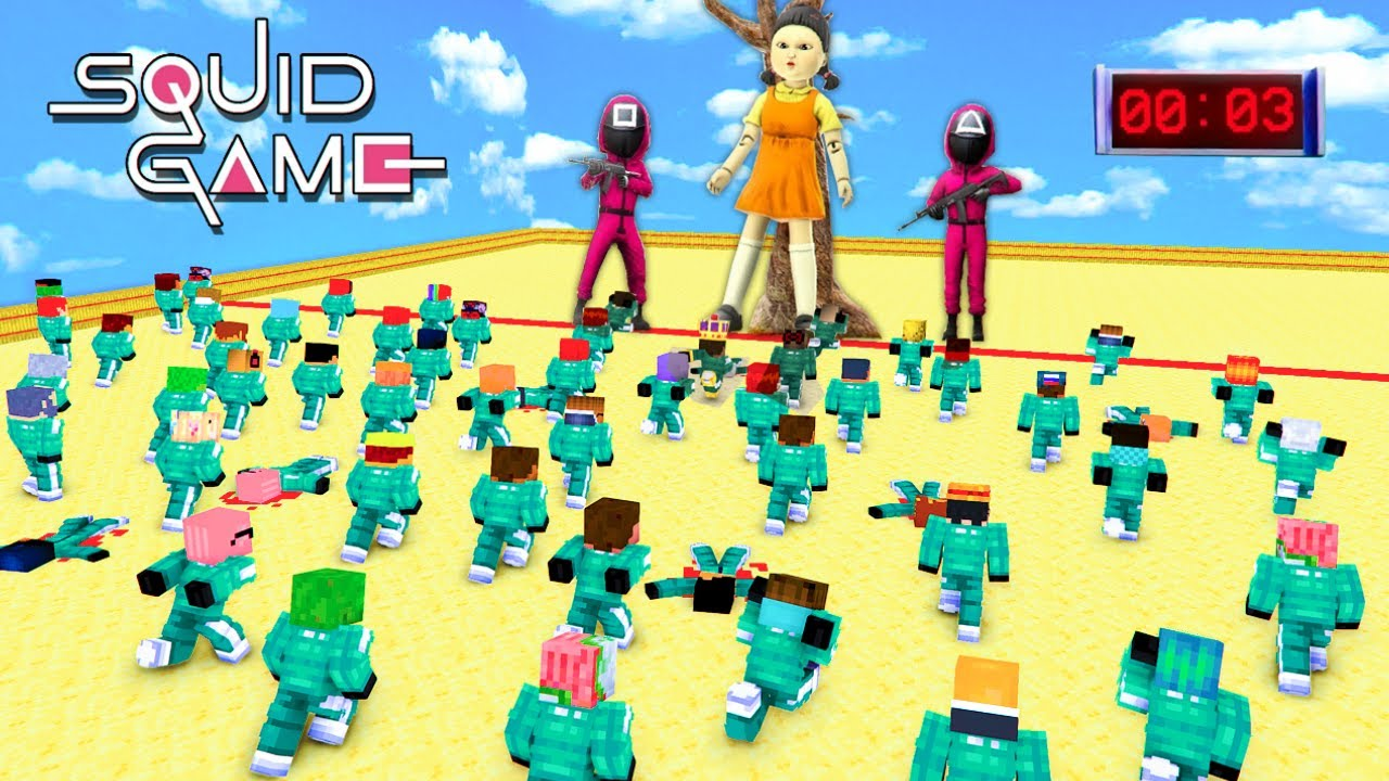 SQUID GAME with 1000 PLAYERS - Red Light Green Light Challenge Sad Story Minecraft Animation Roblox