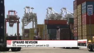 U.S. economy grew at 2.1 percent rate in third quarter   미국 3분기 경제성장률 2.1%로 수정..