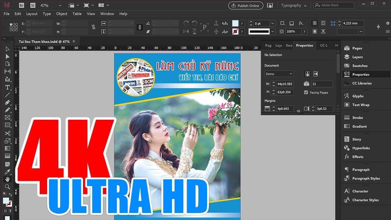 Adobe Indesign CC 2019: Thêm mới, Mở và Lưu trữ Tài liệu trên Indesign (4K Ultra HD)