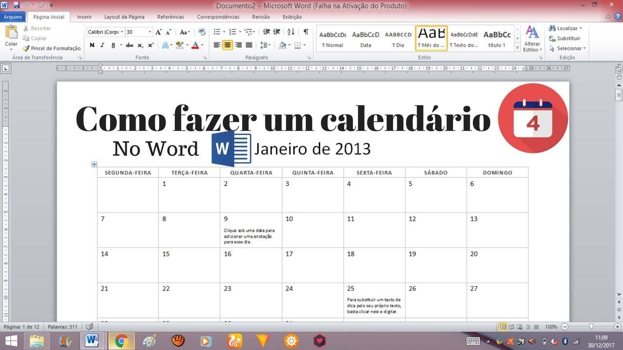 Calendario Word 2019.Como Fazer Um Calendario No Word