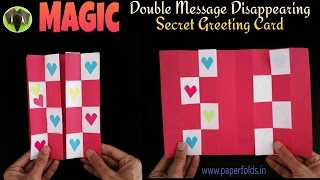 DOUBLE MESSAGE DISAPPEARING SECRET   MAGIC Card - DIY Tutorial by Paper Folds ❤️