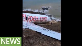 Intense up-close footage of plane crash site in Turkey