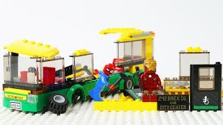 SpiderMan and IronMan Block Building a Lego City Bus - SuperHero Toys Animation Video for Kids