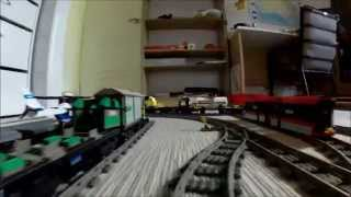 2015 Awesome Lego Train Set. Going through the House and into the Garden. (Drivers View)