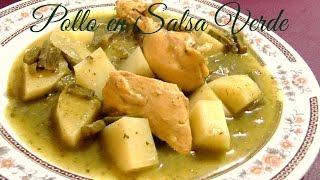 Pollo En Salsa Verde Con Nopales Y Papas (receta Rapida) ♥♥