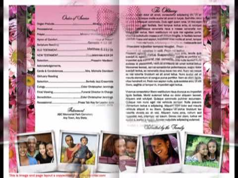 Funeral Program Template Mother Funeral Program - YouTube