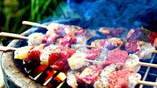 Surf And Turf Kushiyaki Video Recipe - How To Yakitori Steak And Shrimp  サーフ&ターフ串焼きビデオのレシピ