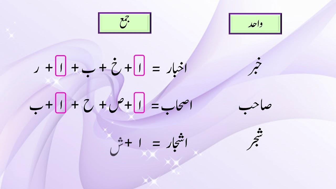 Urdu G9 U2 L4  Rule for Singular   Plural