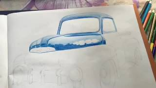 Drawing Ford F1 pickup truck