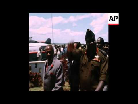 SYND 04-11-73 KENYATTA GREETS AMIN AT AIRPORT