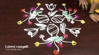 beautiful flowers kolam 7 dots || creative flower kolam || latest rangoli