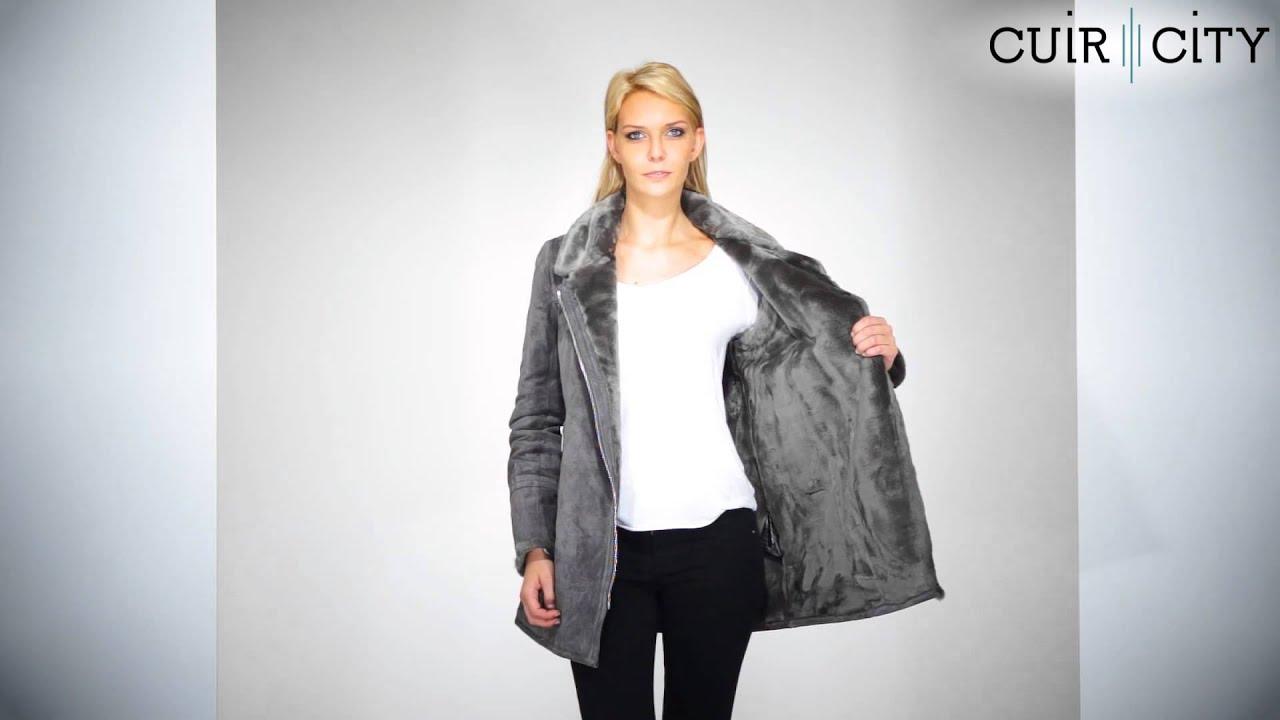 manteau femme cuir chaud et fourr oakwood roxane gris fonc youtube. Black Bedroom Furniture Sets. Home Design Ideas