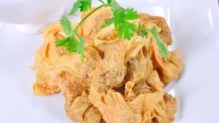 ประทัดลม (อาหารว่าง) Crispy Fried Tofu Stuffed With Minced Pork And Shrimp