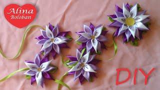 Хризантема Канзаши. Лента в Косу / Kanzashi flowers from satin ribbon