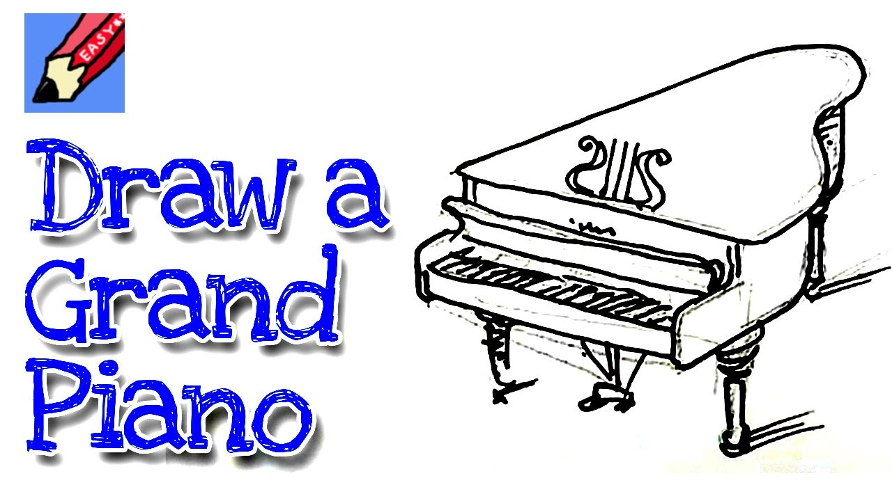 Learn How To Draw A Grand Piano Real Easy Step By Step With Easy Spoken Instructions Youtube