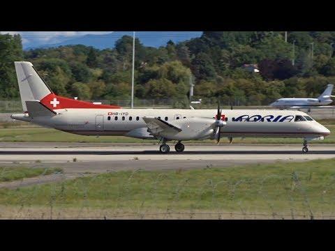 [FullHD] *Hybrid* Adria Airways Switzerland Saab 2000 landing & takeoff at Geneva/GVA/LSGG