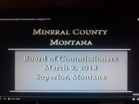 Mineral County Montana Commissioners' meeting 3-9-18