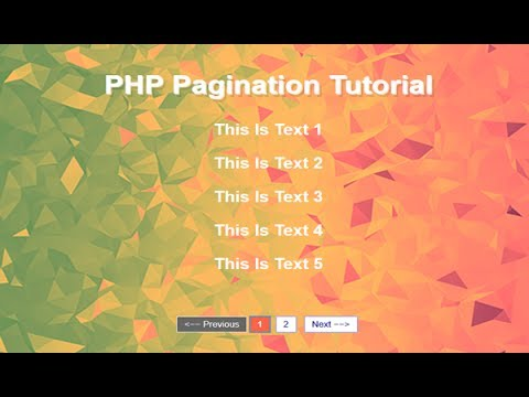 Simple Pagination Using PHP And MYSQL