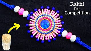 How to make Rakhi at home with Toothpicks | Rakhi making for competition 2019