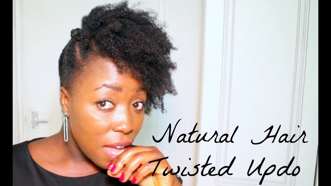 natural hairstyle twisted updo bantu knots afro puff style on