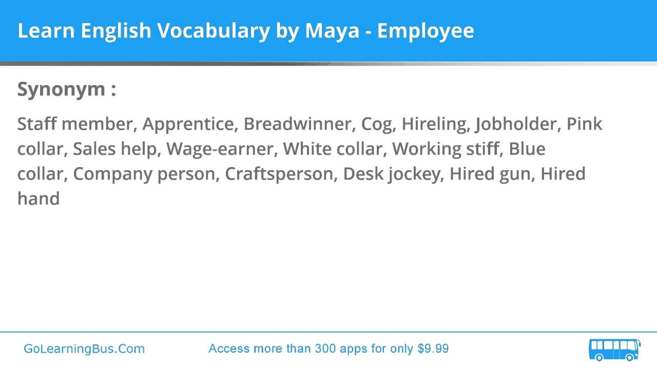 Learn English Vocabulary By Maya Employee
