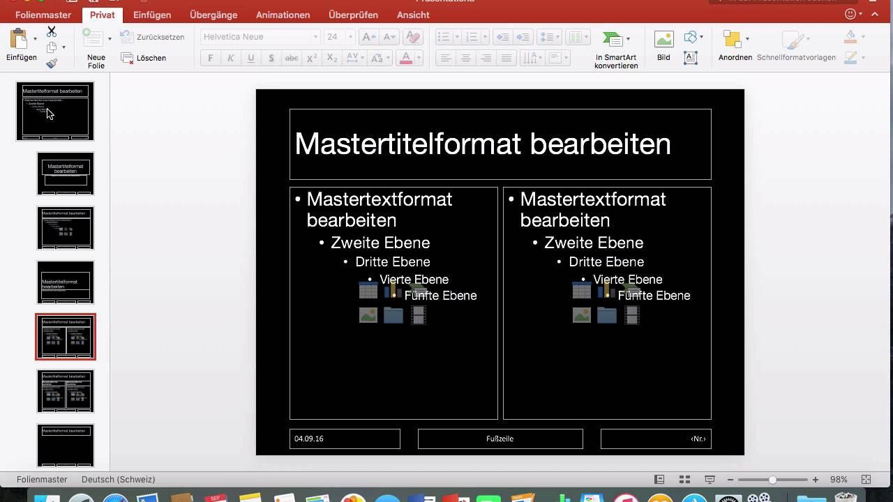 Powerpoint 2016 Mac 61 Folienmaster Bearbeiten Vorlage Speichern