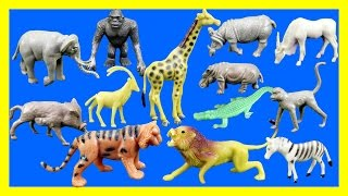 Learn Wild Animal Toys Names - Zoo Animals Elephant Lion Tiger Rhino Toys for Kids