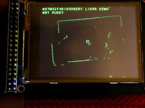 Neato XV-11 lidar + stm32f4discovery + lcd tft display