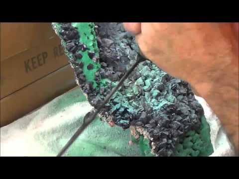Prep Work: Azurite crystals and Malachite, Milpillas Mine, Sonora, Mexico - Part 2 of 3