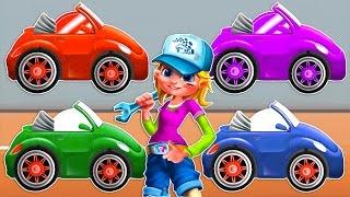 Мультфильм про веселые машинки для мальчиков 4-5 лет. Помогите мастеру покрасить и починить машину