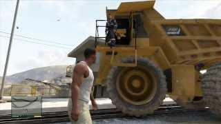 GTA V Dump Truck vs Train and Ballsy Hijacker