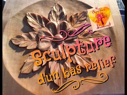 BOIS #6  SCULPTURE d'un bas relief (wood carving)