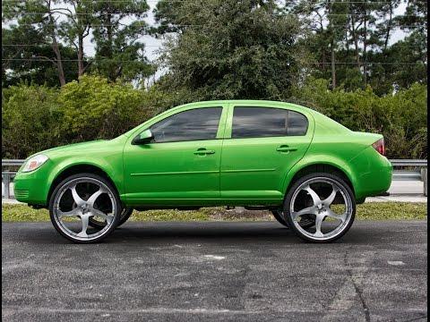 Chevy Cobalt Slime Green on 26s Forgiato