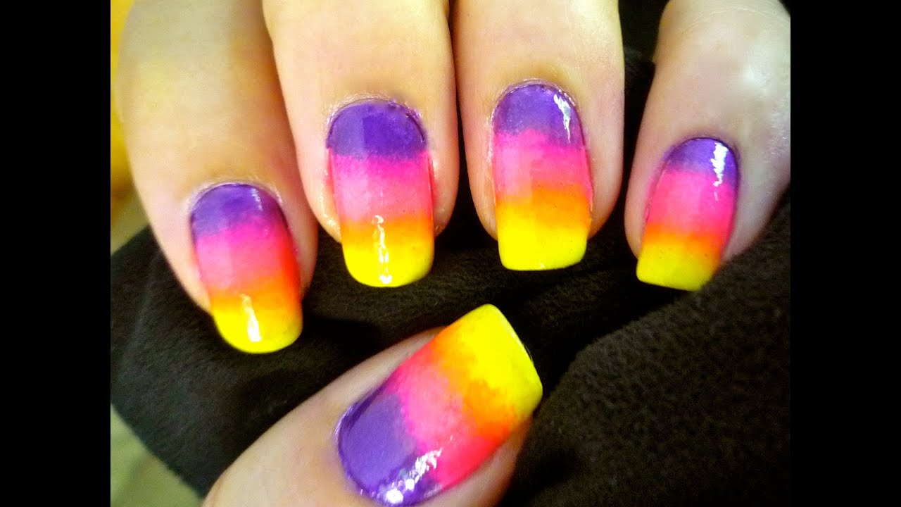 Ombre Nails! Rainbow Gradient Nail Art using only 3 colors - YouTube