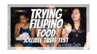 TRYING FILIPINO FOOD | JOLLIBEE TASTE TEST