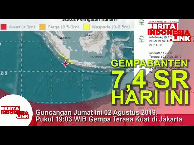Gempa Banten 7,4 SR pukul 19.03 wib terasa kuat sampai Jakarta. BMKG; Siaga Tsunami