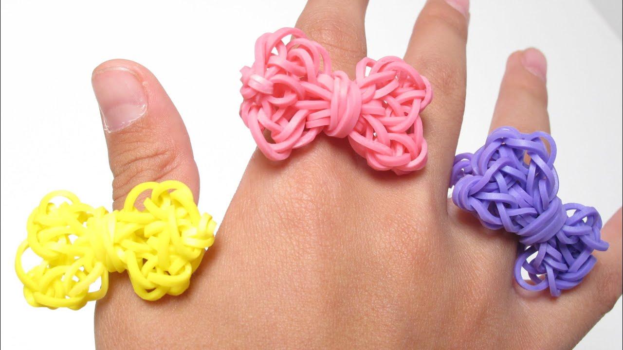 Rainbow Loom 蝴蝶結戒指(Bow Ring) - 彩虹編織器中文教學 - YouTube