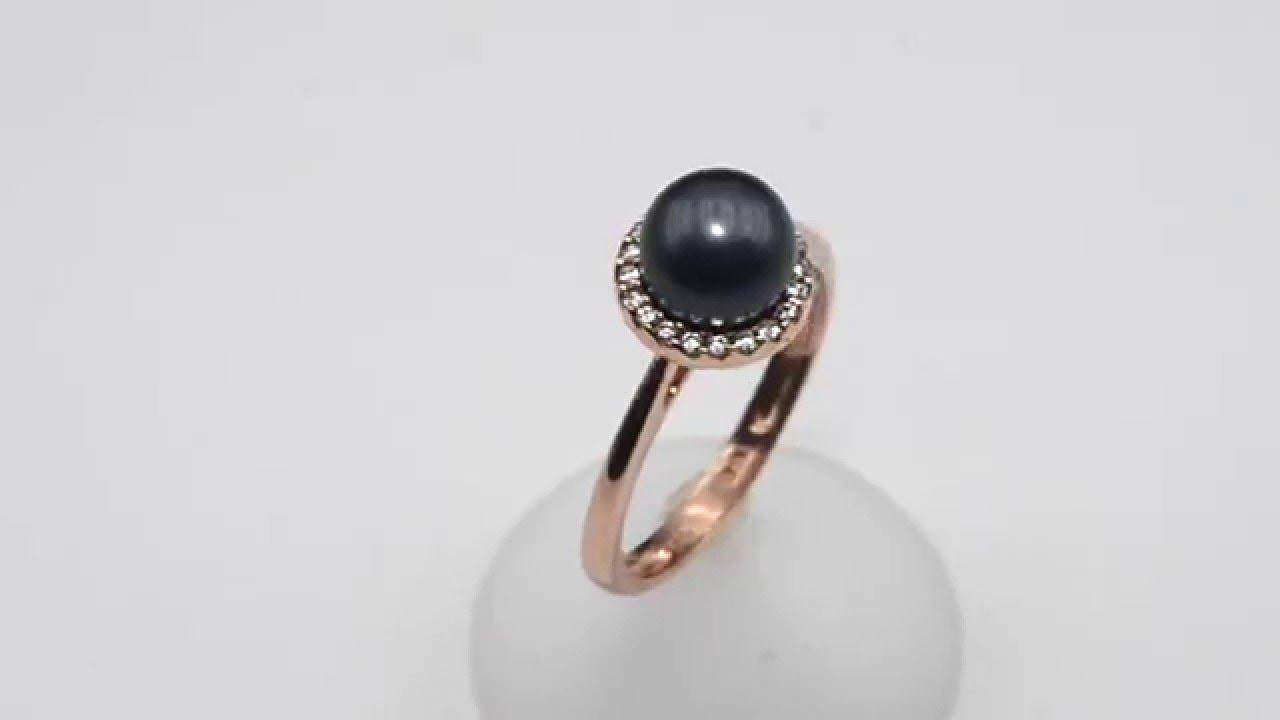 Δαχτυλίδι σε ροζ χρυσό Κ14 - Μαύρο μαργαριτάρι 021012 - YouTube 988de0c1b74