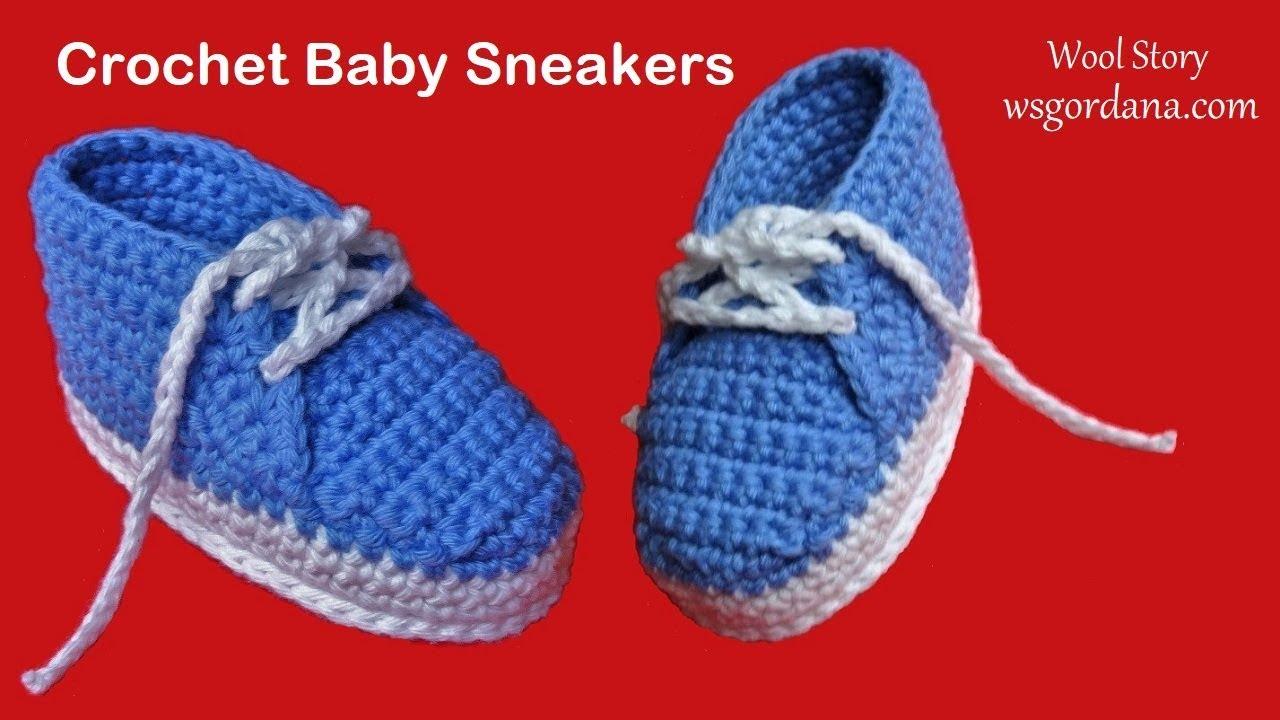 DIY Tutorial Crochet Baby Sneakers (Heklane patike za bebe)