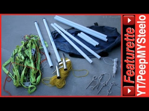 Outdoor Volleyball Net Equipment Set By Spalding W/ Adjustable Pole Height & Court Boundary Cords