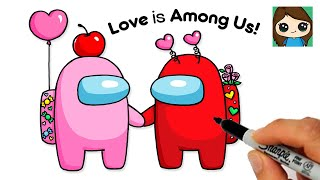 How to Draw an AMONG US Couple Valentines Love