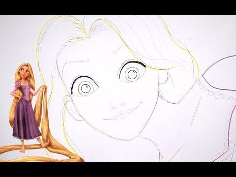 رسم ربانزل Rapunzel خطوة بخطوة بالرصاص والتخطيط الجزء الاول Part1 Youtube