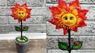 Поделки.Как сделать цветок.Сувенир к 8 марта.Солнечный цветочек своими руками.Декор интерьера.DIY.