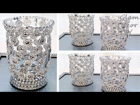 Dollar Tree DIY Glam Bling Candle Holders DIY Bling Decor