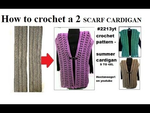 Crochet Pattern 2 Scarf Cardigan Sweater Summer Tops Small To 4xl