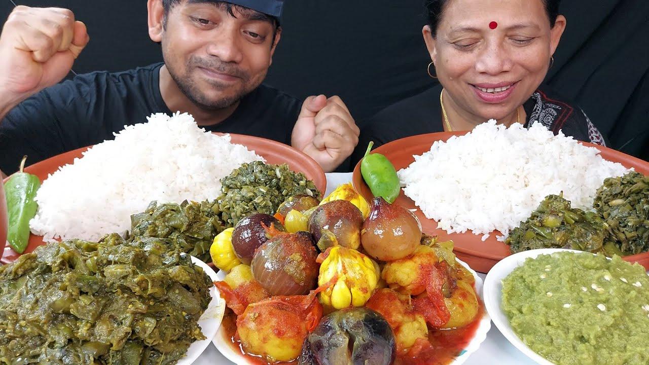 Onion Garlic Curry Eating with Basmati Rice Yummy Food Mukbang