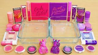 Pink vs Purple - Same Same Edition - Mixing Makeup Eyeshadow Into Slime ASMR