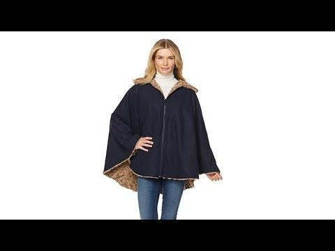 Sporto Reversible WoolBlend and Faux Fur Cape